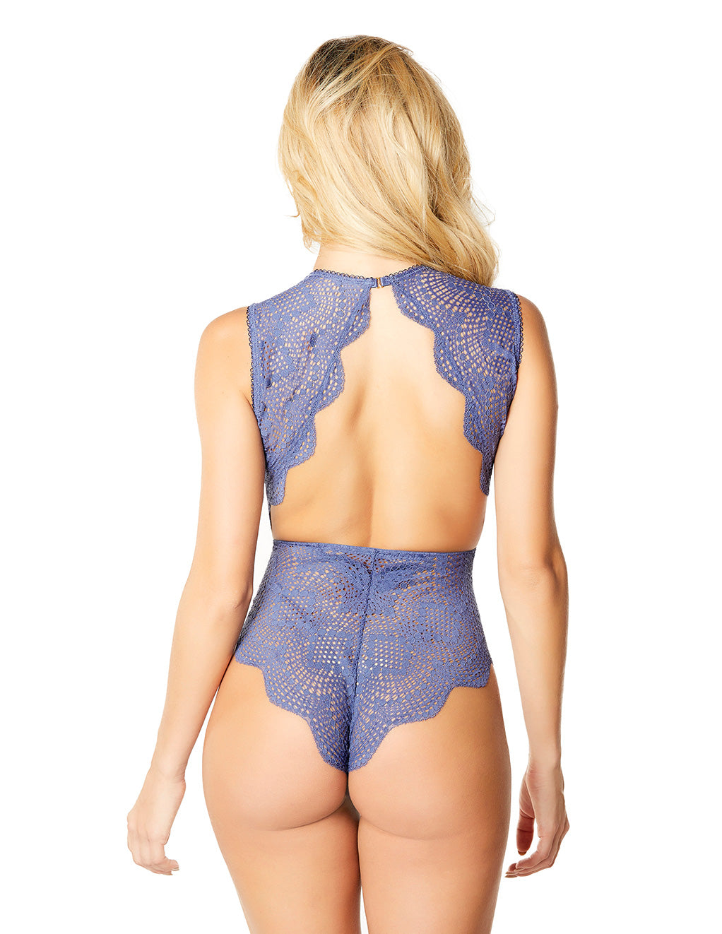 Oh La La Cheri Striped Lace Plunge Teddy Blue Back