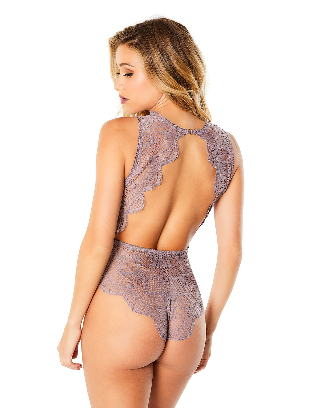 Oh La La Cheri Striped Lace Plunge Teddy Purple Back