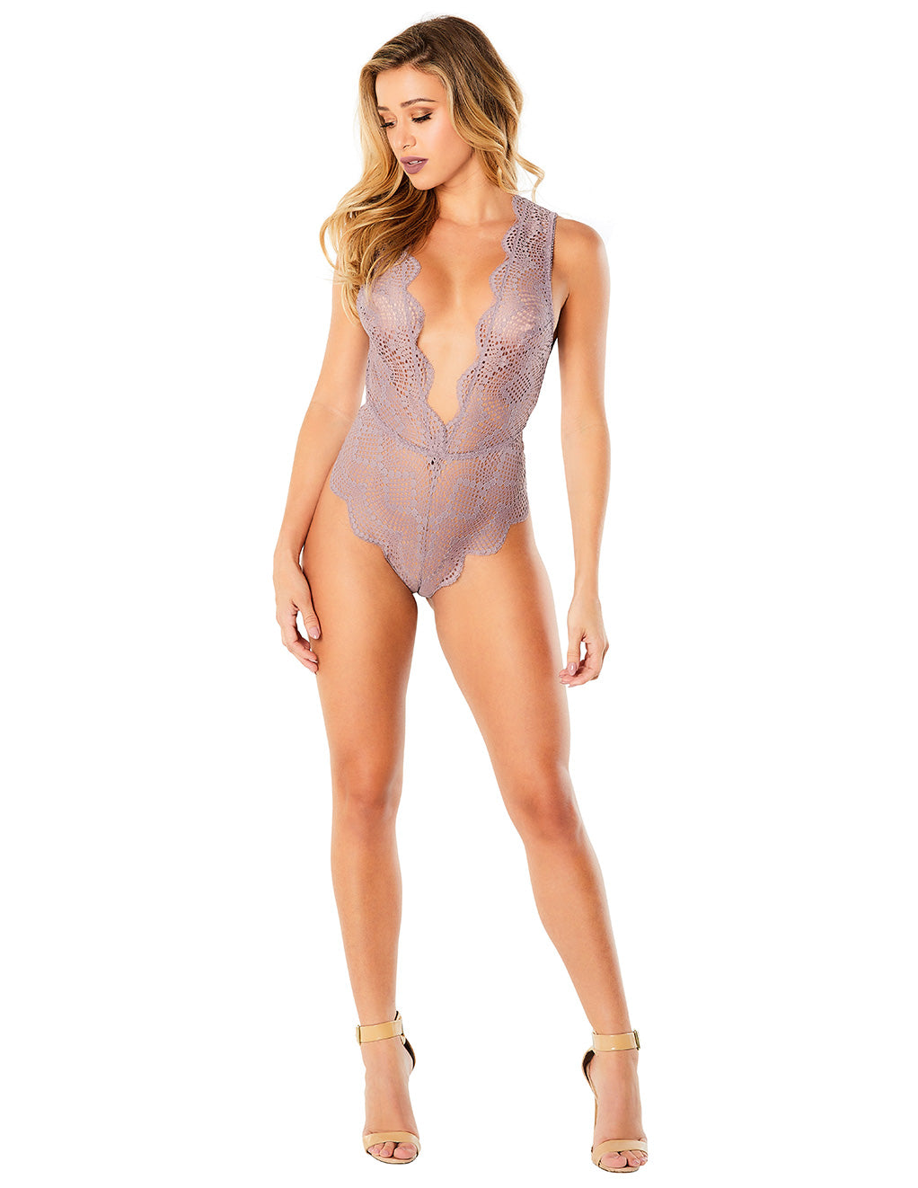 Oh La La Cheri Striped Lace Plunge Teddy Purple Front