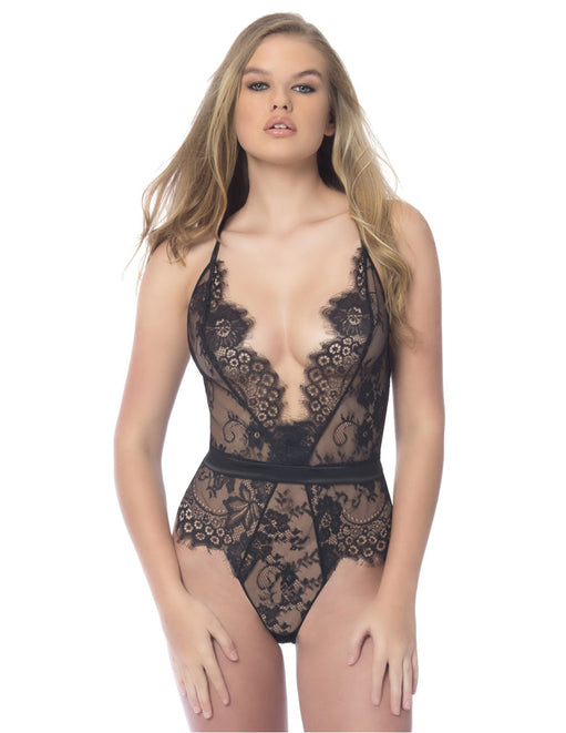 Oh la la Cheri Scarlett Lace Teddy with Satin Trims black