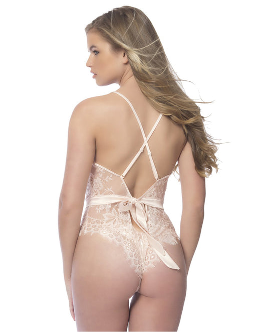 Oh la la Cheri Scarlett Lace Teddy with Satin Trims back