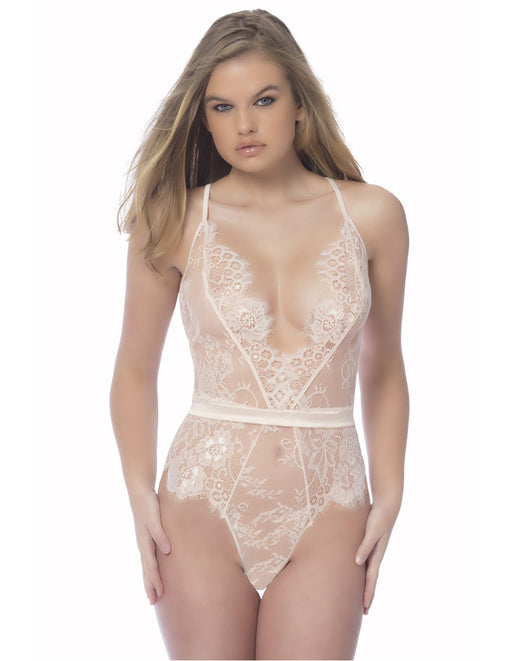 Oh la la Cheri Scarlett Lace Teddy with Satin Trims