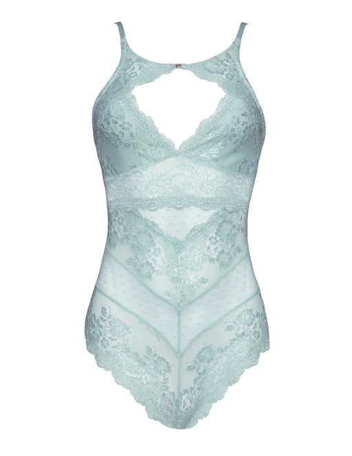 Oh La La Cheri High Neck Soft Lace Bodysuit Turquoise/Small Front