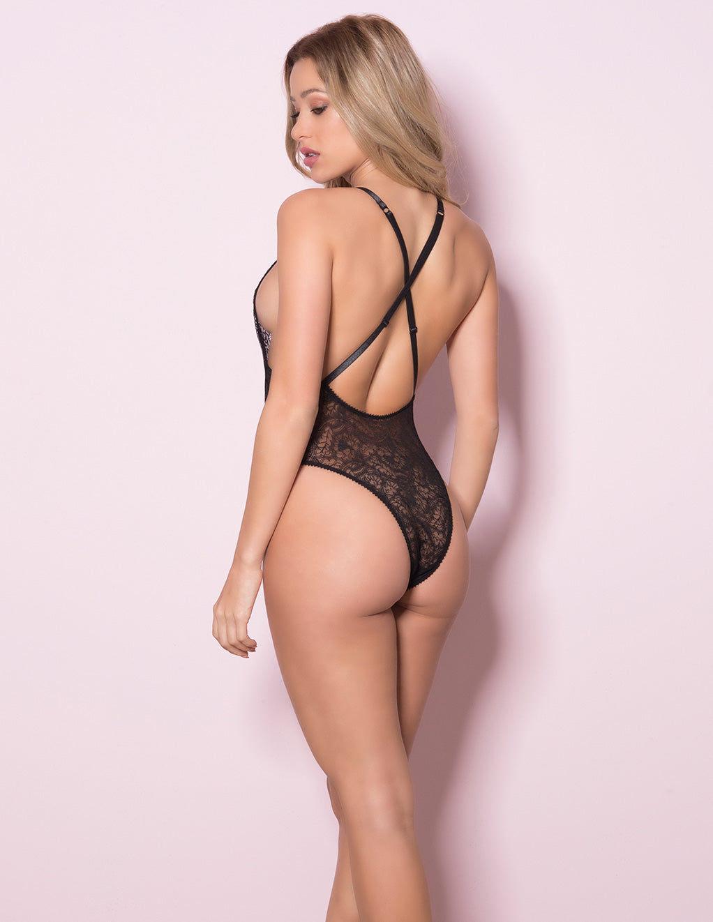Lace Teddy with Lace Up Front Details by Oh La La Cheri Black Back