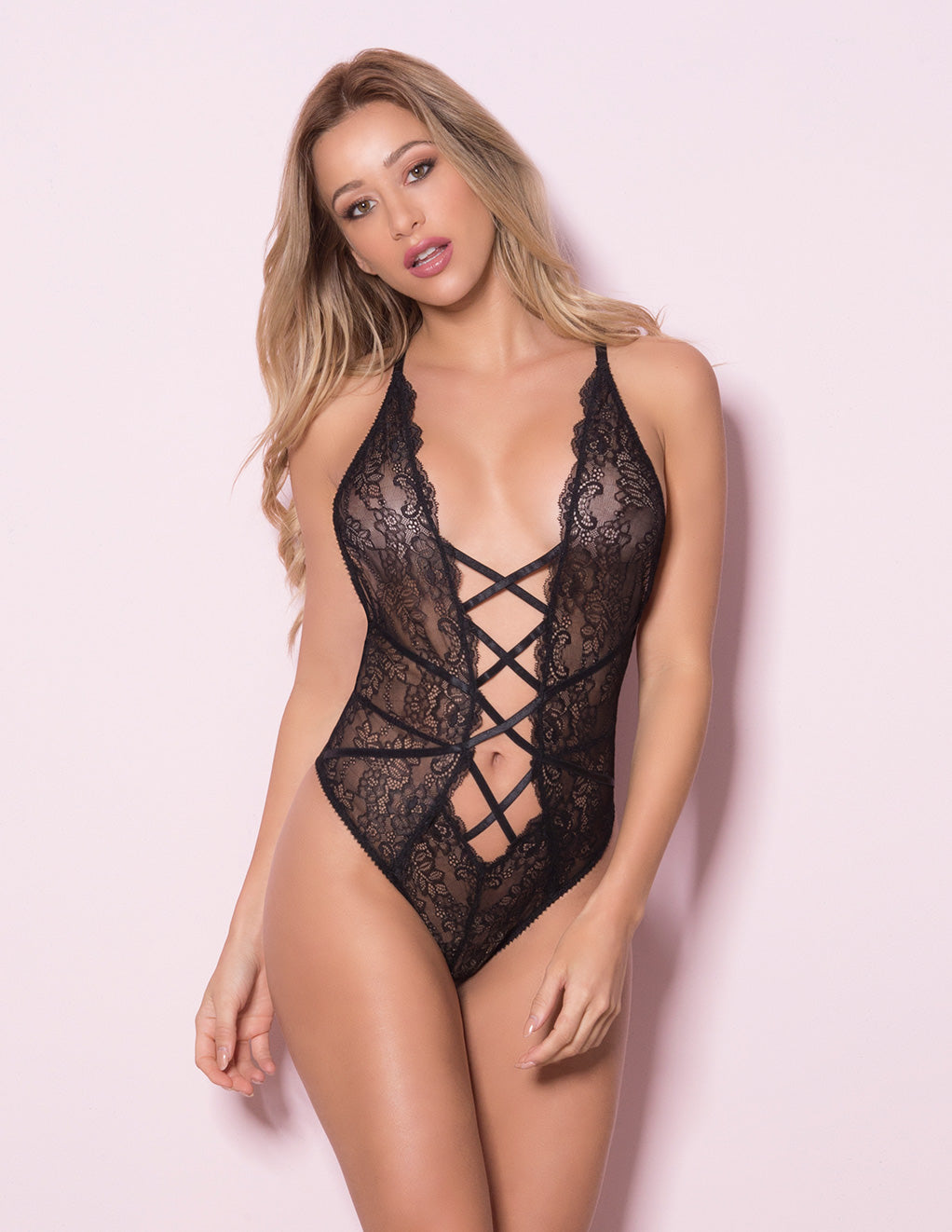 Lace Teddy with Lace Up Front Details by Oh La La Cheri Black Front
