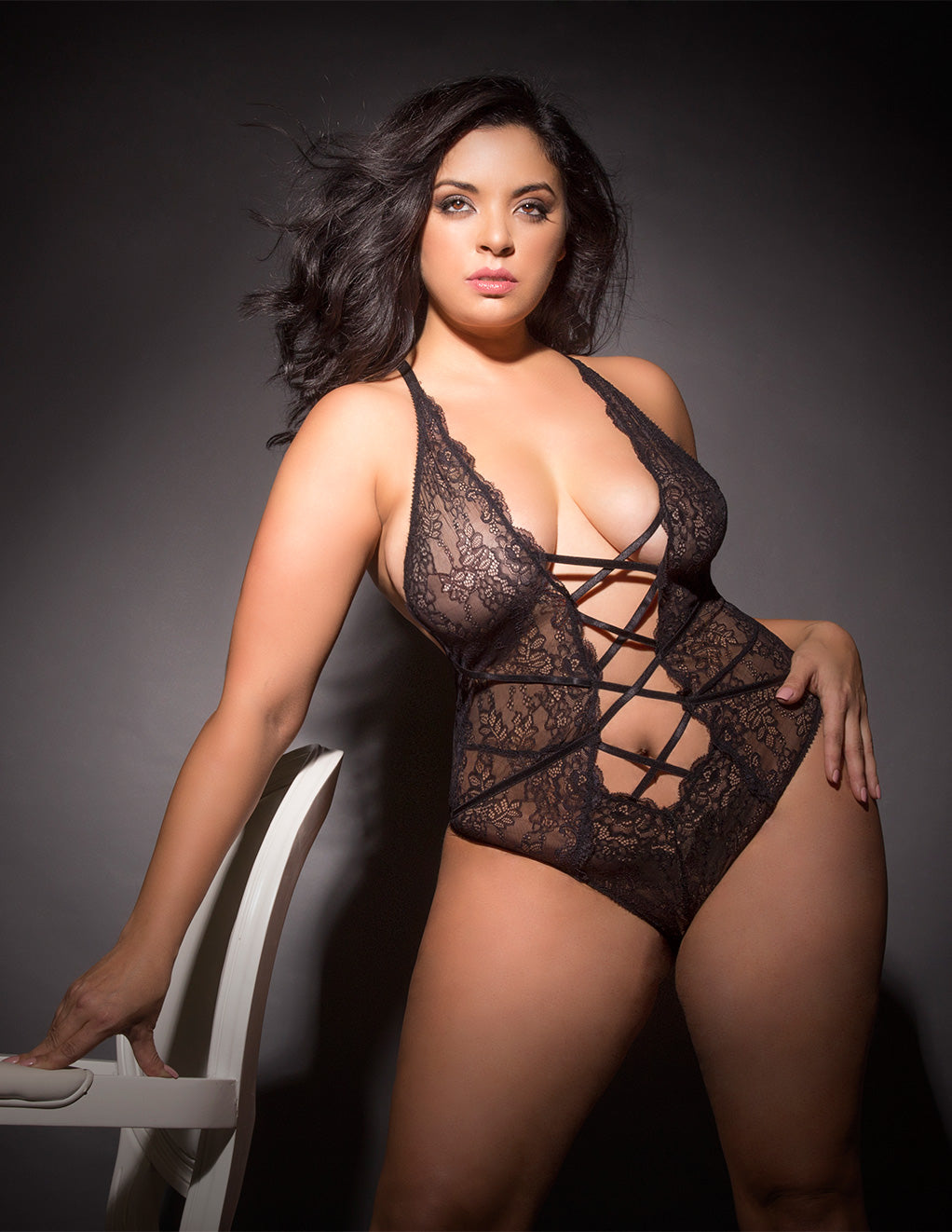 Lace Teddy with Lace Up Front Details by Oh La La Cheri Black Front Stylish Plus Size