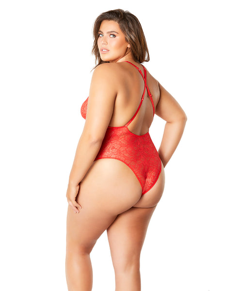Lace Teddy with Lace Up Front Details by Oh La La Cheri Red Back Plus Size