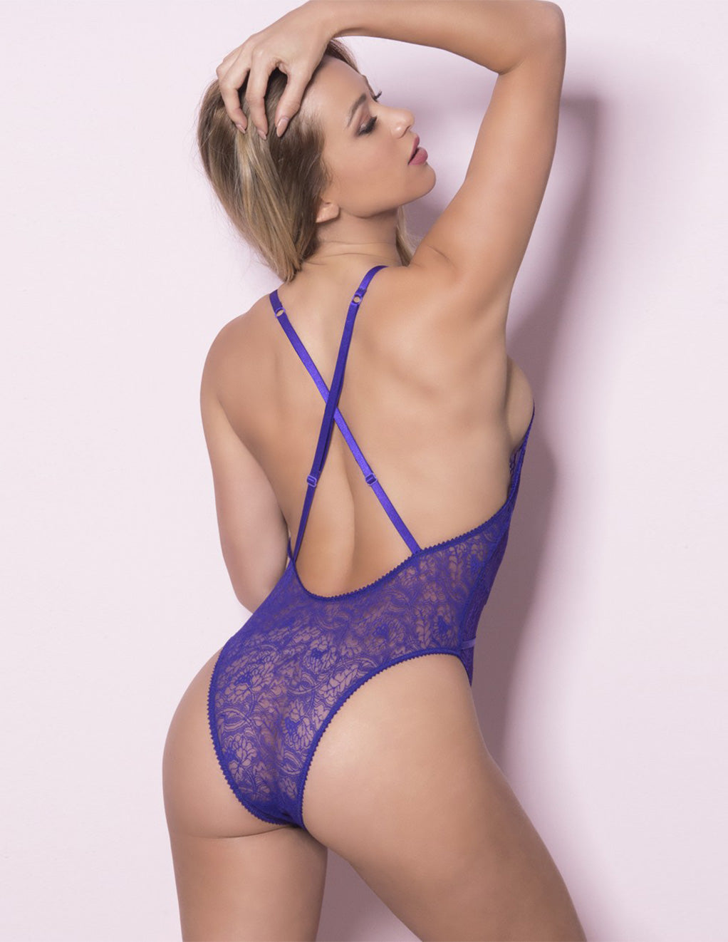 Oh La La Cheri Small Sexy Purple Soft Lace Teddy Back