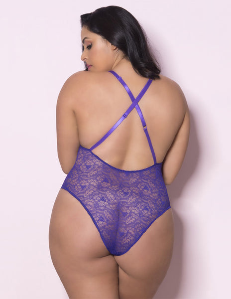Oh La La Cheri Plus Size Purple Lace Teddy Back