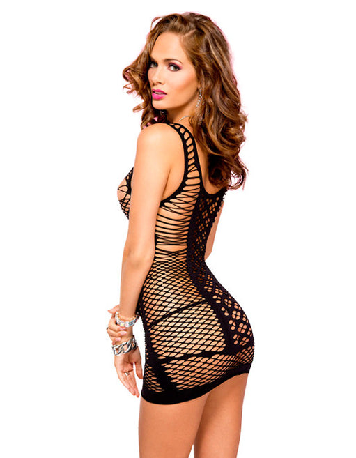 Hustler Lingerie Mini Strings & Diamond Net Spandex Mini Dress - Lingerie - Dancerwear - Featured Image