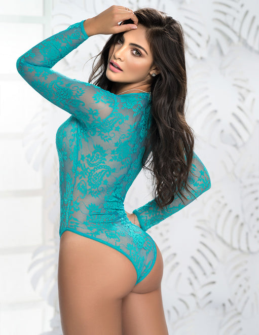 Mapale Long Sleeve Lace Up Deep V Teddy Turquoise/Small