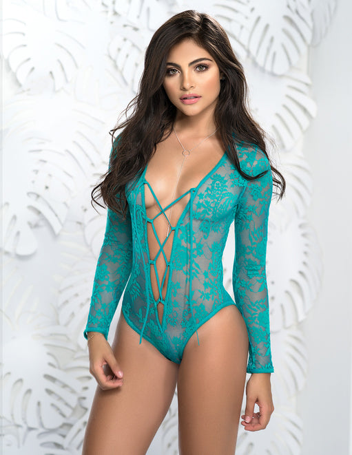 Mapale Long Sleeve Lace Up Deep V Teddy Turquoise Medium