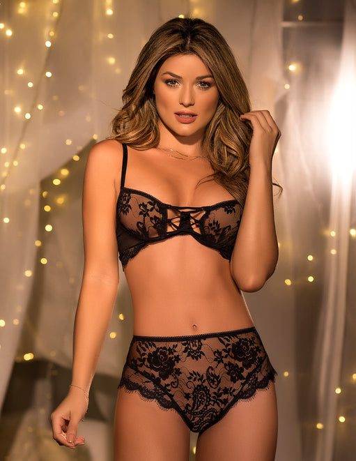 Mapale Black Lace Bra & Panty Set Small