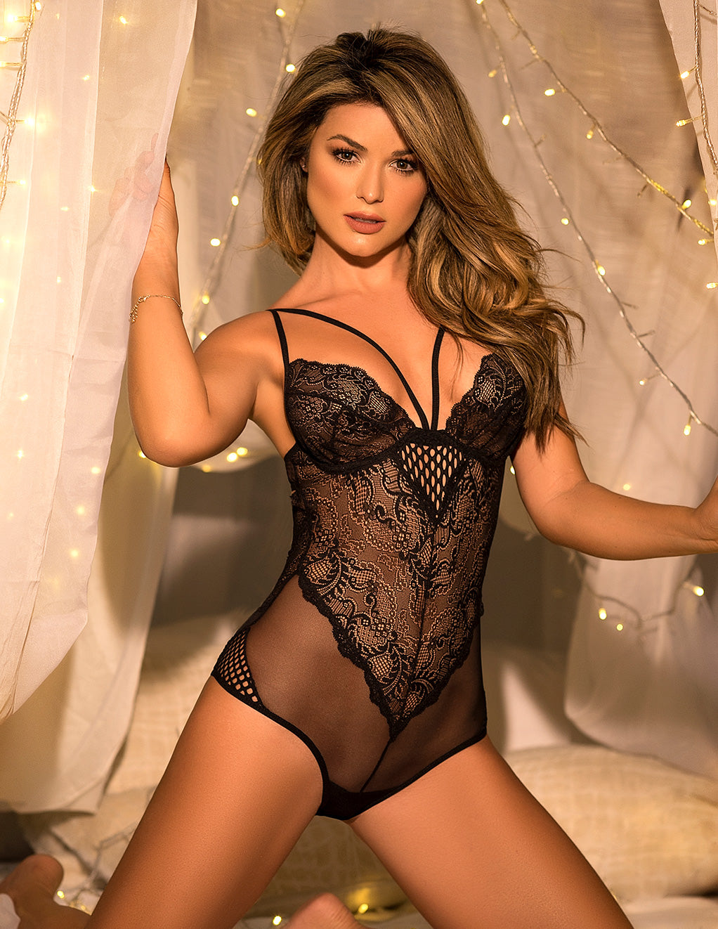 Mapale Black Lace & Mesh Teddy Small