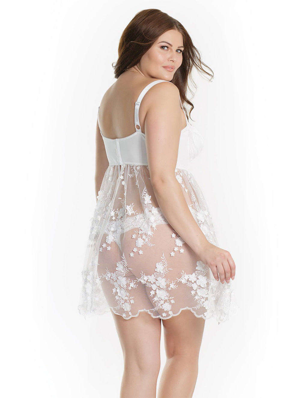 Sheer Tulle Babydoll with Floral Appliqué- Plus size- Back