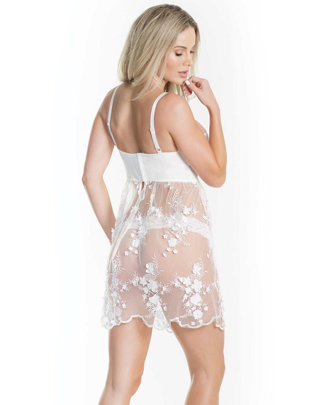 Sheer Tulle Babydoll with Floral Appliqué- Back