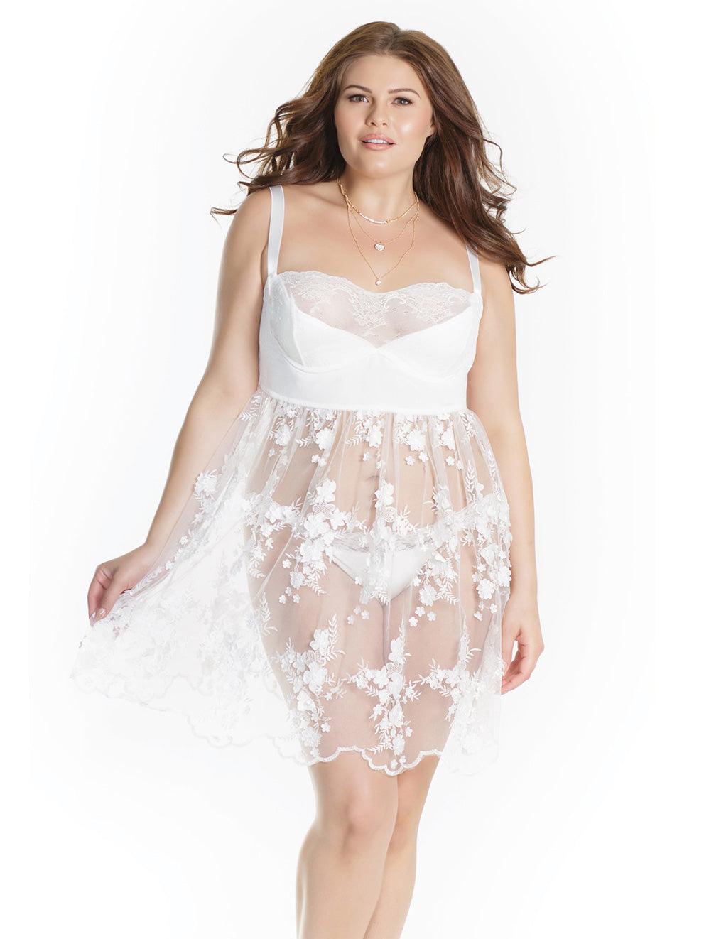 Sheer Tulle Babydoll with Floral Appliqué- Plus size- Front