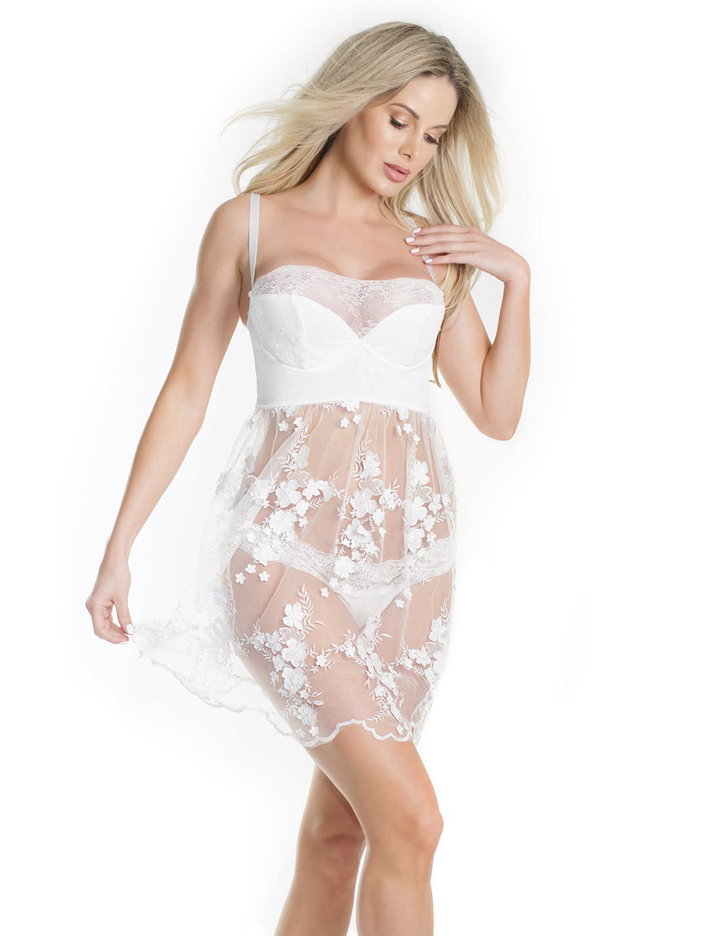 Sheer Tulle Babydoll with Floral Appliqué- Front
