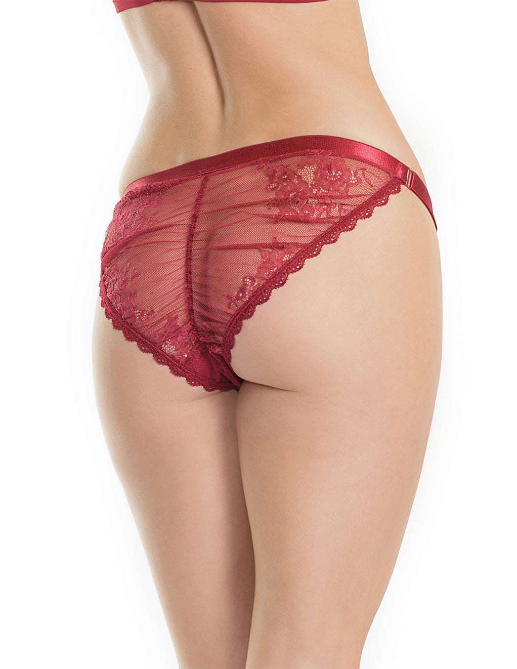 Low-Rise Mesh Satin Trim Panty- Back