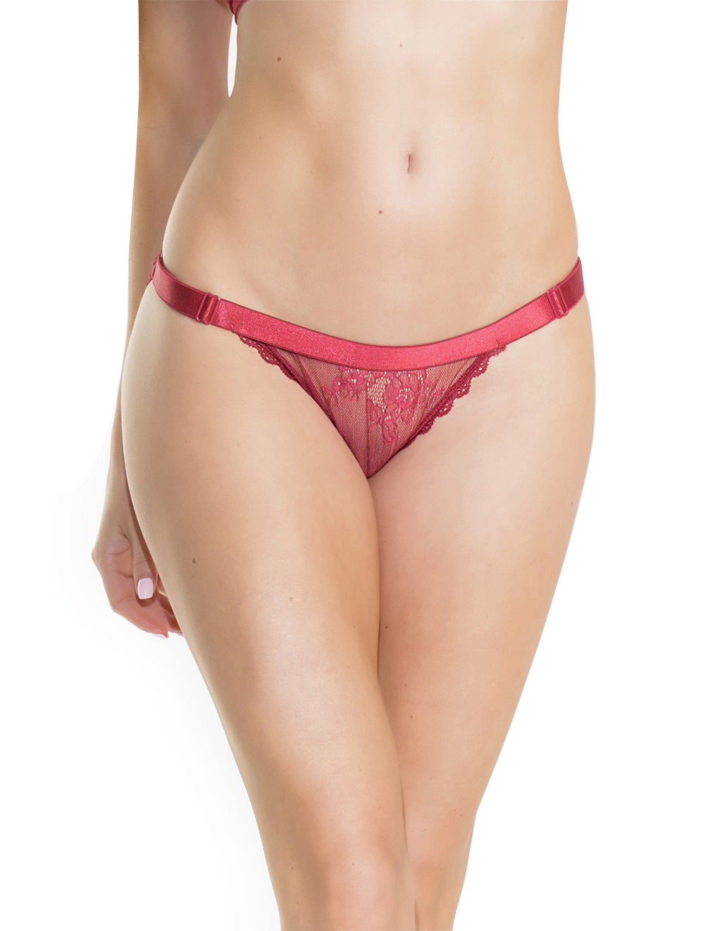 Low-Rise Mesh Satin Trim Panty- Front