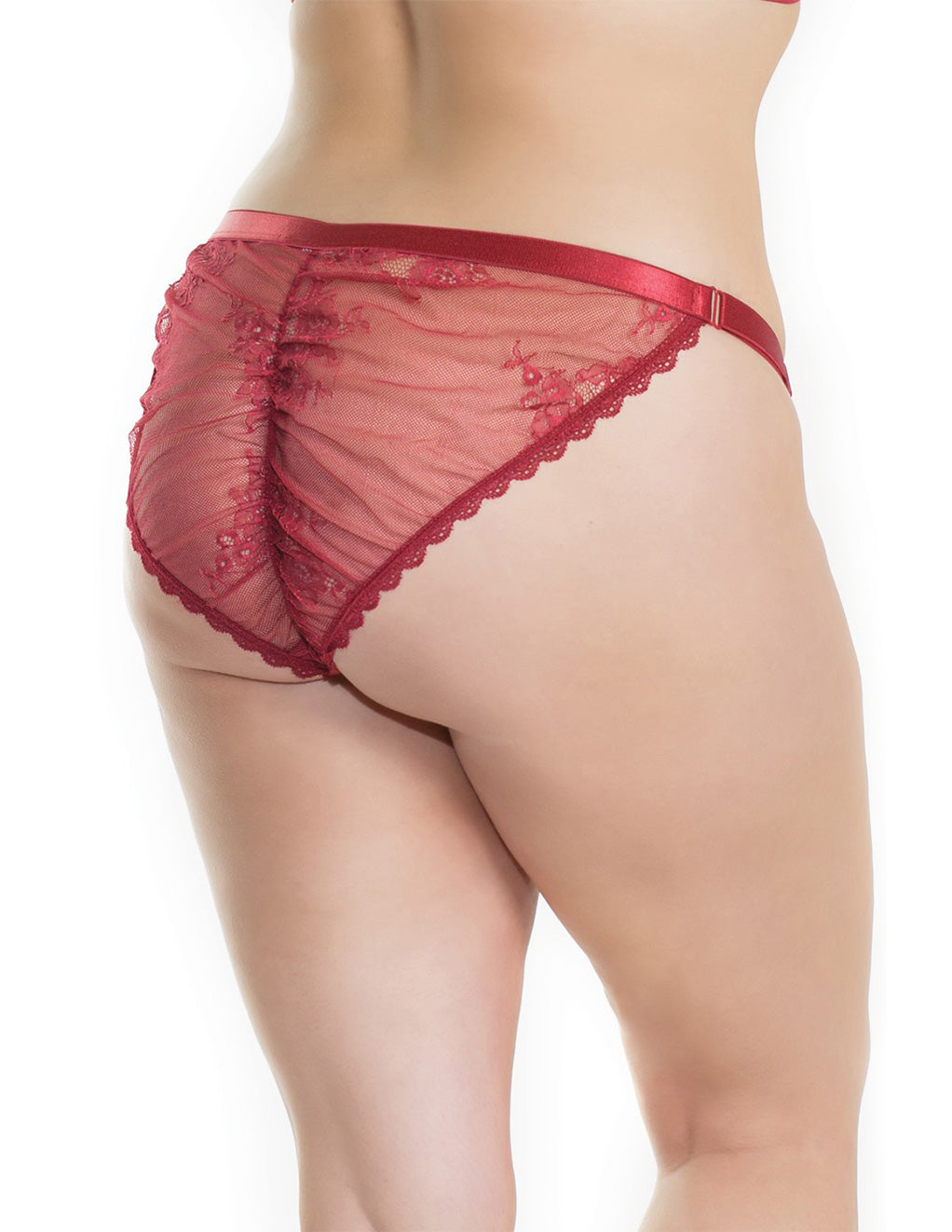 Low-Rise Mesh Satin Trim Panty- Plus size- Back