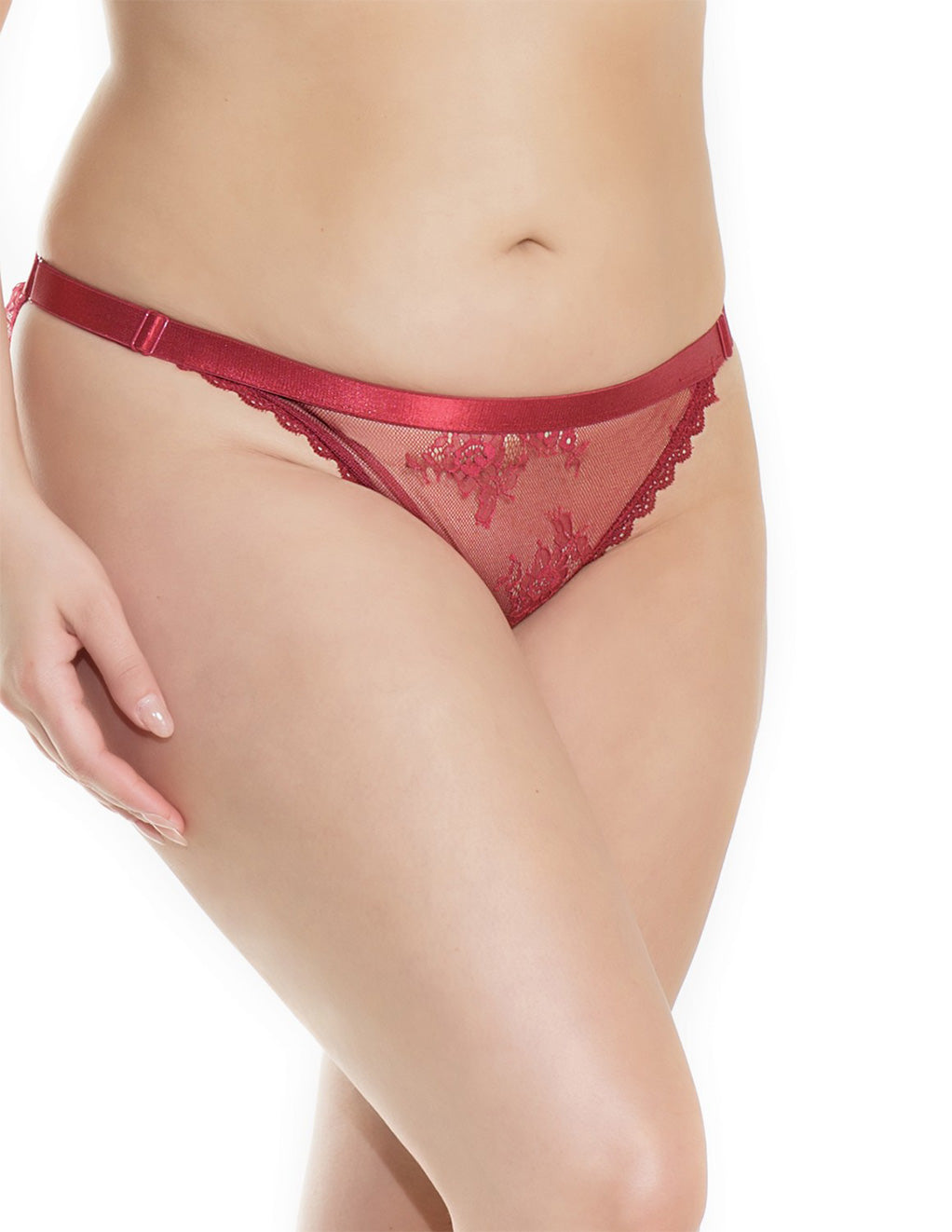 Low-Rise Mesh Satin Trim Panty- Plus size- Front