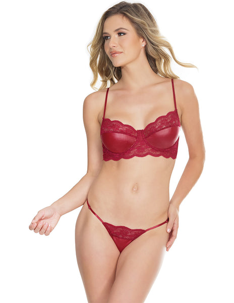 Coquette Wetlook and Lace Bra and Panty Set- front