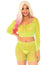 Leg Avenue Rhinestone Fishnet Long Sleeve Crop Top and Biker Shorts- Neon Yellow- Front