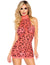 Leg Avenue Neon Cheetah Printed High Neck Mini Dress- Coral- Front
