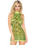 Leg Avenue Neon Tiger Striped High Neck Mini Dress- Neon Yellow- Front