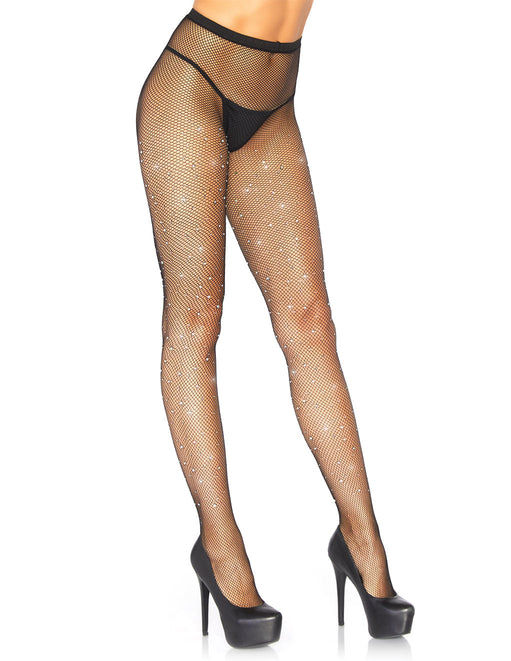 Leg Avenue Fishnet Crystalized Tights With Rhinestones Front
