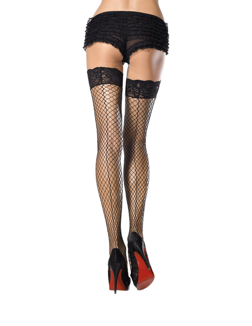 Leg Avenue Lace Top Back Seam Thigh High Stockings black