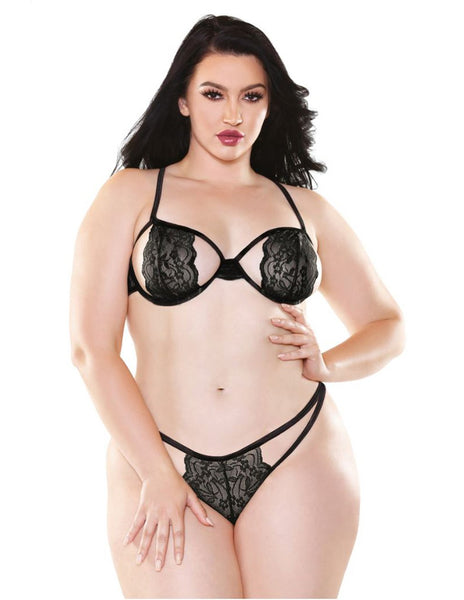 Black Belle Stretch Lace Bra and Cutout Panty Set