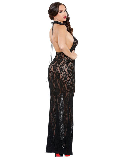 Black Floral Lace High Neck Gown back view