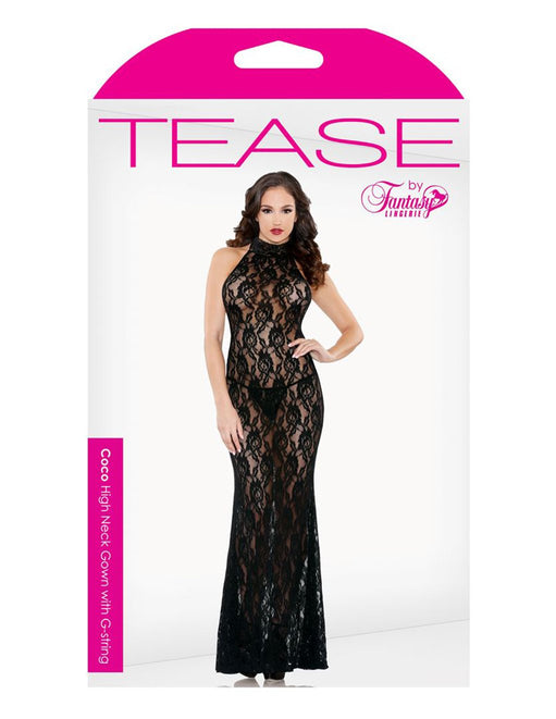 Black Floral Lace High Neck Gown box