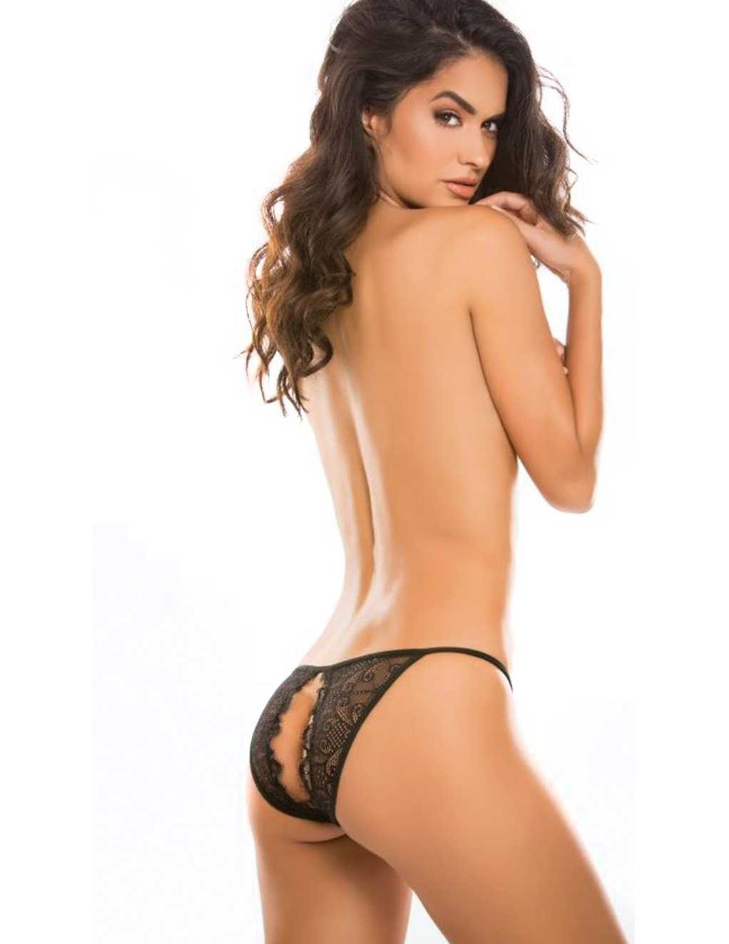Adore by Allure Enchanted Belle Lace String Open Back Panty Standing