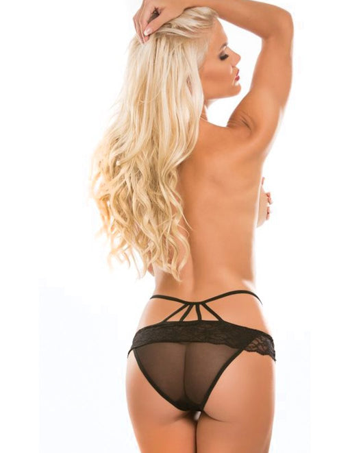 Adore by Allure Angel Strappy Lace & Sheer Crotchless Panty Model
