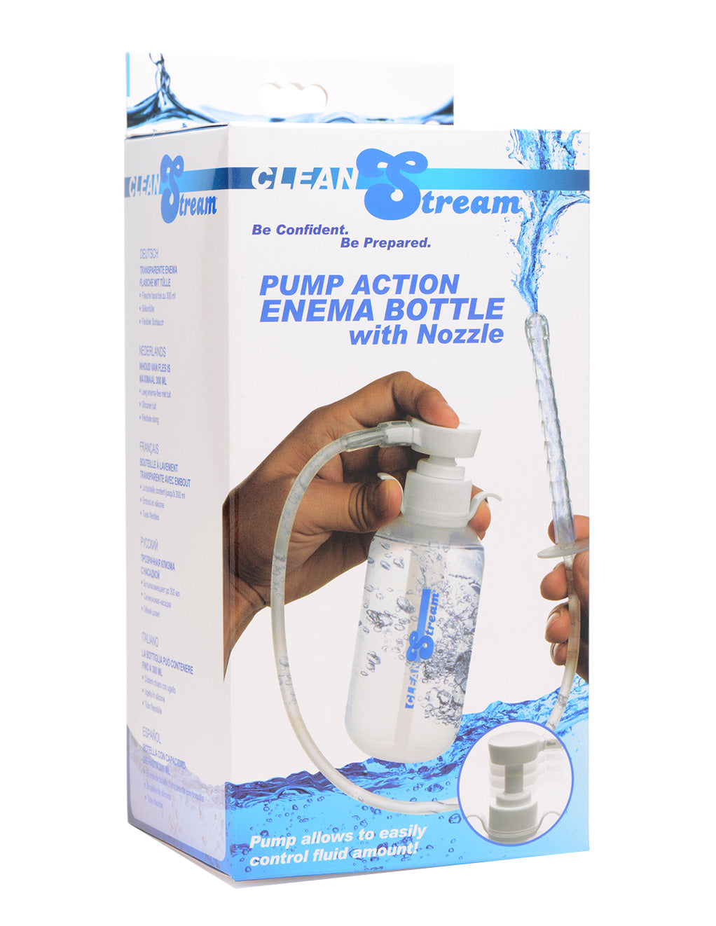 Clean Stream Pump Action Enema Bottle With Nozzle Box Front
