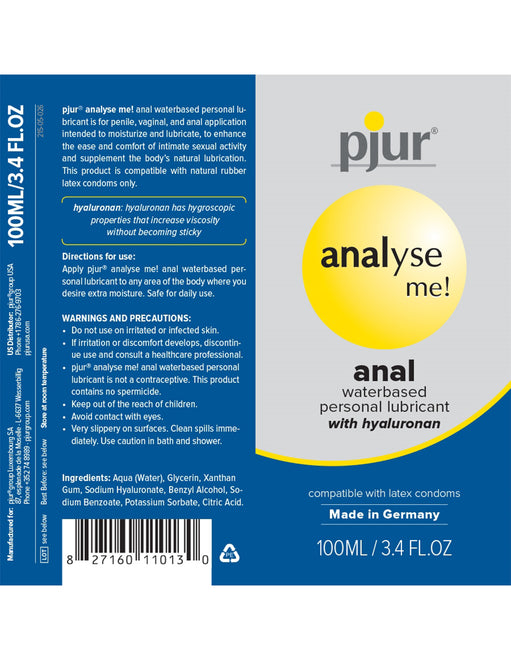 Pjur Analyse Me Water-based Anal Personal Lubricant 100mL box