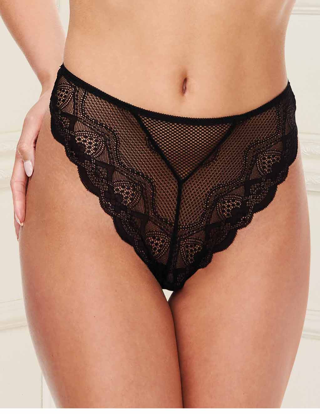 Baci Fishnet Lace Panty- Small- Black- Front