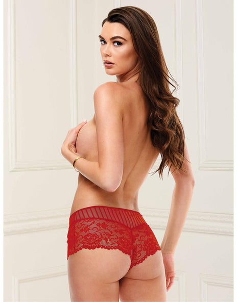 Baci Lace and Striped Boyshort- Red- Small- Back