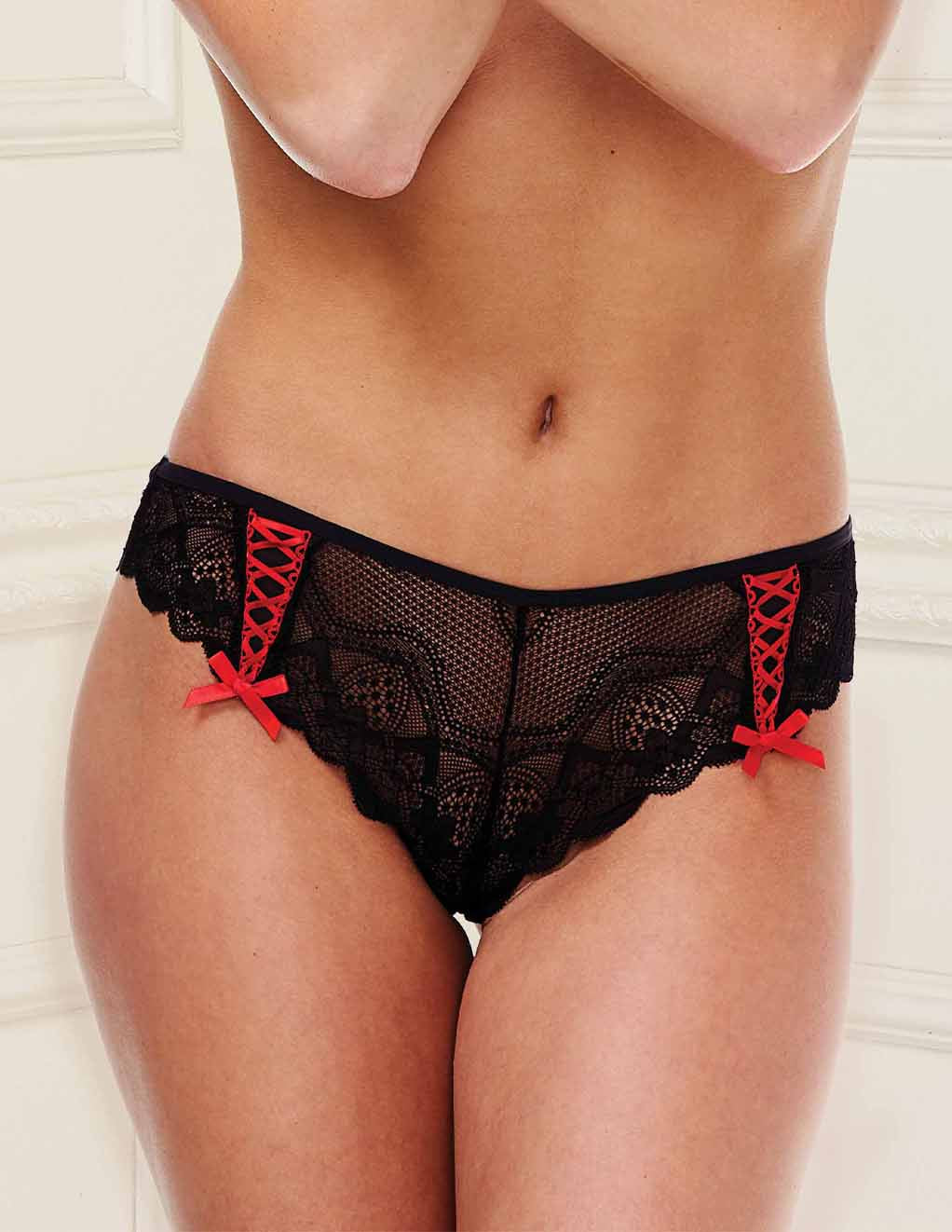 Baci lace Panty with Ribbons- Black- Front