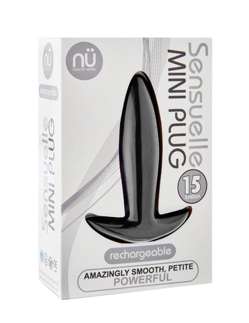 Sensuelle 15 Function Vibrating Mini Plug Black Package