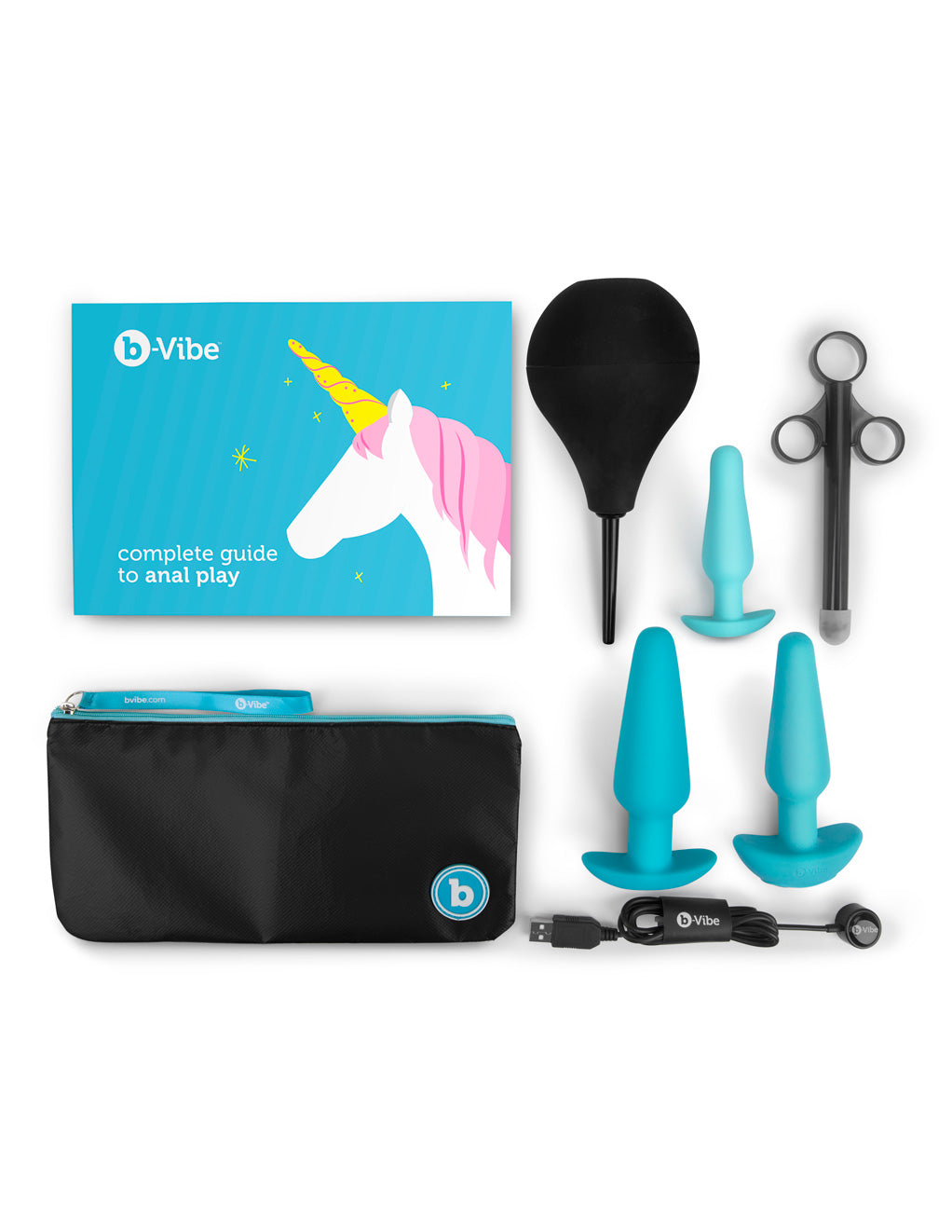 B-Vibe Anal Training & Education Set- Blue- Contents
