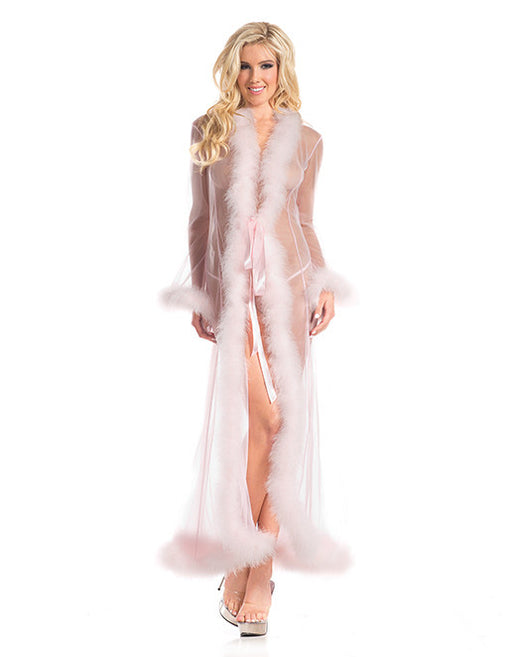 hustler brand marabout feather trim lingerie robe light pink - Featured Image