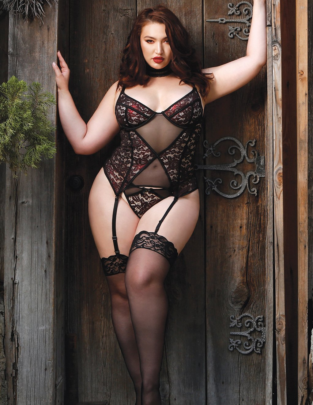 Fantasy Lingerie Shadow Kiss Metallic Lace Bustier With Panty Plus Size Front
