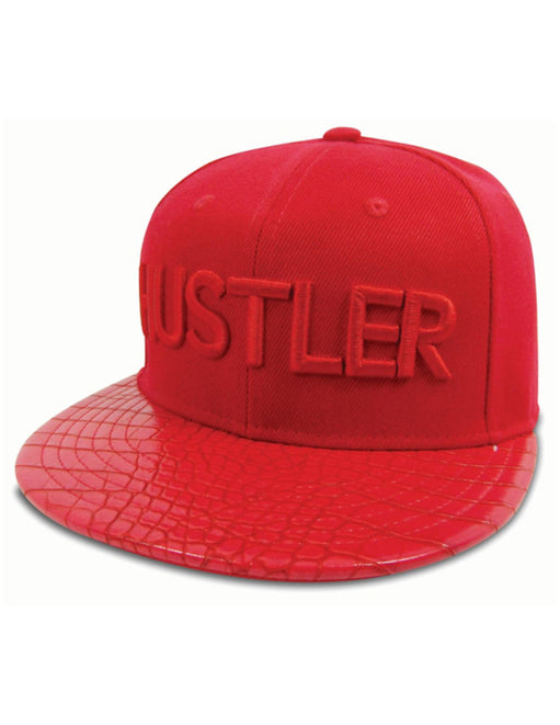 Hustler Classic Logo Reptile Brim Hat Red side view - Featured Image