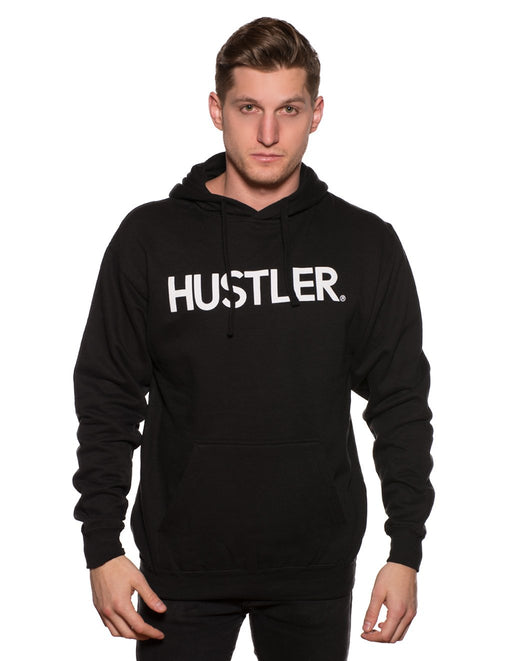 HUSTLER Classic Pull Over Hood Black Front - Featured Image