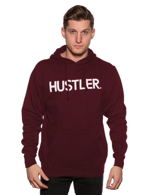 HUSTLER Classic Pull Over Hood Burgundy Front - Featured Image