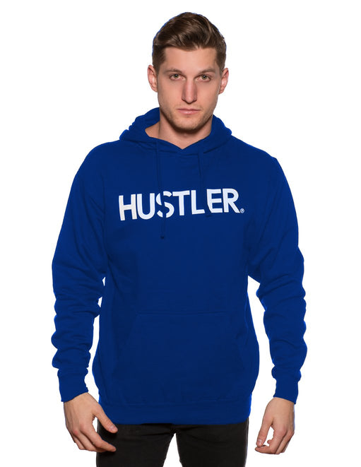 HUSTLER Classic Pull Over Hood Blue Front - Featured Image